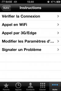 Le premier menu Instruction permet de vérifier la connectivité (WIFI ou 3G/EDGE)